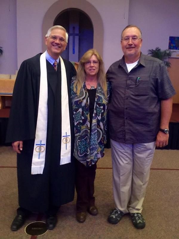 Pastor Ayers with Elizabeth and Laymon Idol.